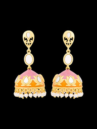 Orange-Pink Gold Tone Enameled Jhumkis