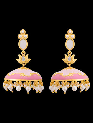 Pink- white Gold Tone Beaded Enameled Jhumkis