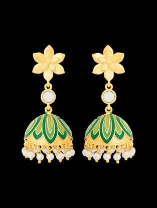 Green Gold Tone Enameled Jhumkis with Floral Design