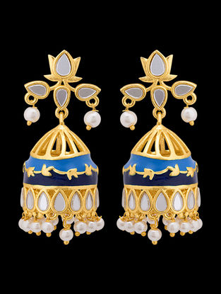 Blue Gold Tone Enameled Jhumkis