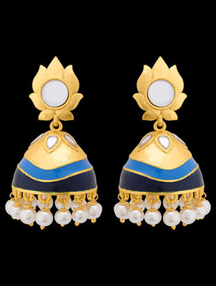 Blue Gold Tone Enameled Jhumkis with Lotus Design
