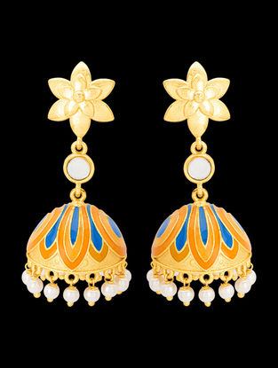 Orange-Blue Gold Tone Enameled Jhumkis with Floral Design