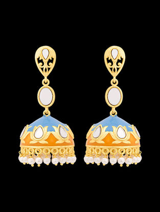 Blue-Yellow Gold Tone Enameled Beaded Jhumkis