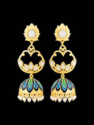 Green-Blue Gold Tone Enameled Jhumkis with Lotus Design