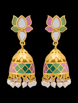 Green-Pink Gold Tone Enameled Pearl Beaded Jhumkis