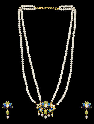 Blue-Green Gold Tone Enameled Pearl Beaded Necklace with a Pair of Earrings (Set of 2)