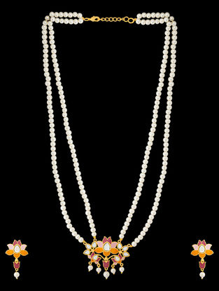 Pink-Orange Gold Tone Enameled Pearl Beaded Necklace with a Pair of Earrings (Set of 2)