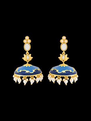 Blue Gold Tone Enameled Beaded Jhumkis