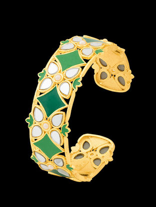 Green Gold Tone Enameled Adjustable Cuff with Floral Design