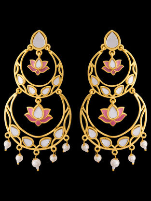 Pink Gold Tone Enameled Earrings with Floral Design