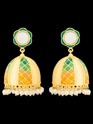 Green-Yellow Gold Tone Enameled Jhumkis with Floral Design
