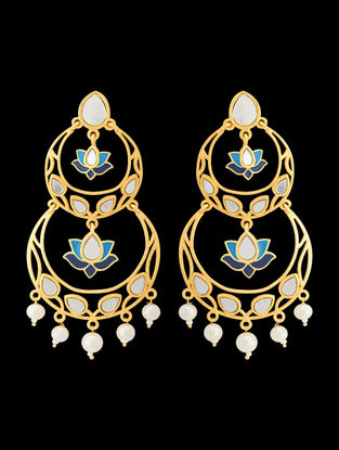 Blue Gold Tone Enameled Earrings with Floral Design