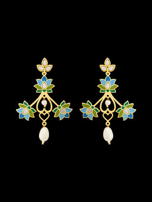 Green-Blue Gold Tone Enameled Jhumkis with Floral Design