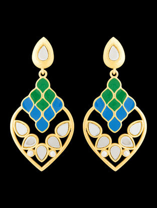 Blue-Green Gold Tone Enameled Earrings