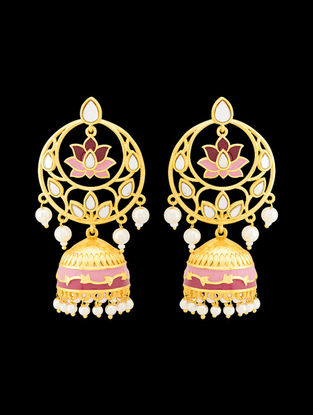 Pink Gold Tone Enameled Pearl Beaded Jhumkis