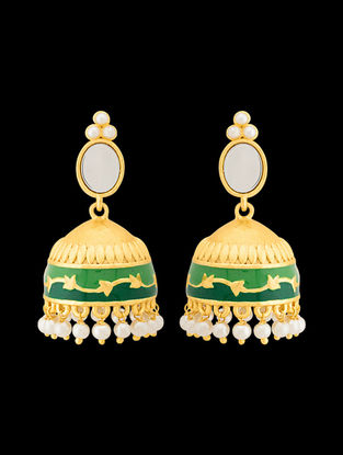 Green Gold Tone Enameled Beaded Jhumkis