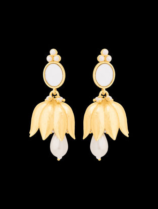 Gold Tone Enameled Pearl Earrings with Lotus Design