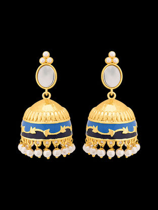 Blue Gold Tone Enameled Pearl Beaded Jhumkis