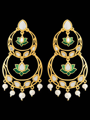 Green Gold Tone Enameled Earrings with Floral Design