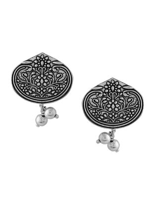 Classic Silver Tone Brass Earrings with Floral Motif
