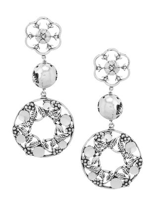 White Silver Tone Brass Earrings with Floral Design