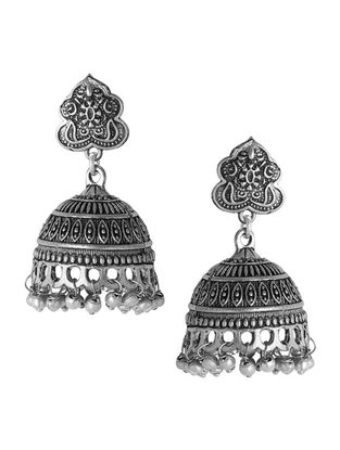 Classic Silver Tone Jhumkis