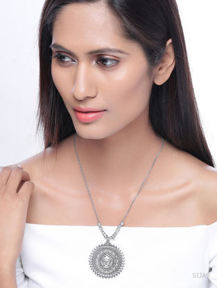 Classic Silver Tone Brass Necklace with Deity Motif