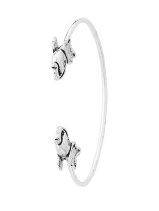 Classic Silver Tone Brass Adjustable Cuff with Elephant Design