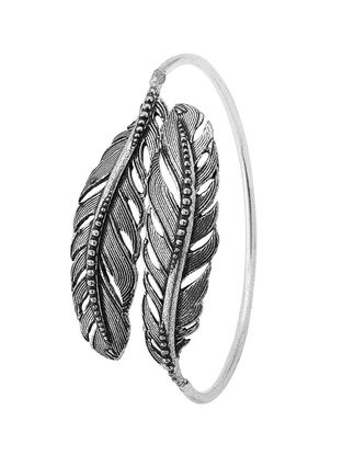 Classic Silver Tone Brass Adjustable Cuff with Feather Design