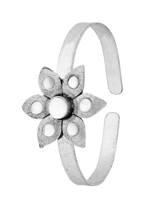 White Silver Tone Brass Adjustable Cuff with Floral Design