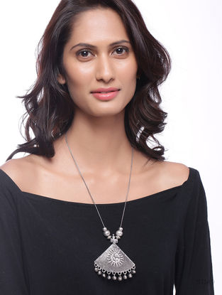 Classic Silver Tone Necklace with Deity Motif