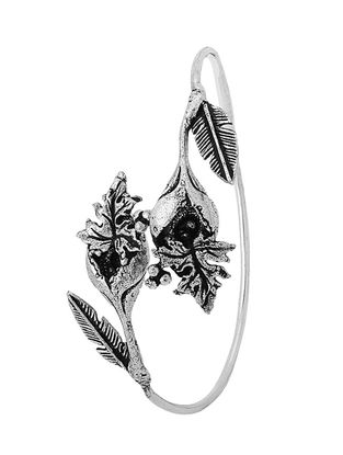 Classic Silver Tone Brass Cuff with Leaf Design