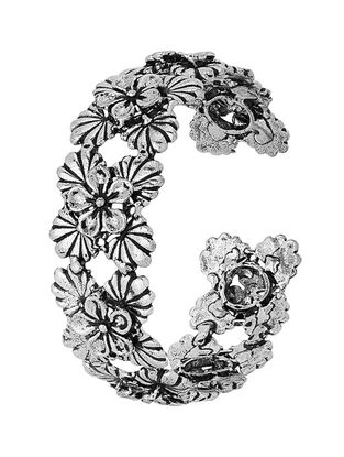 Classic Silver Tone Brass Cuff with Floral Design