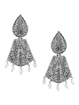 Classic Silver Tone Earrings with Pearl Beads