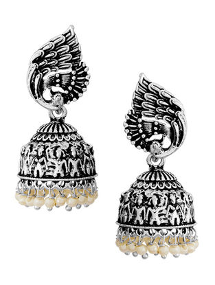 White Silver Tone Jhumkis with Peacock Design