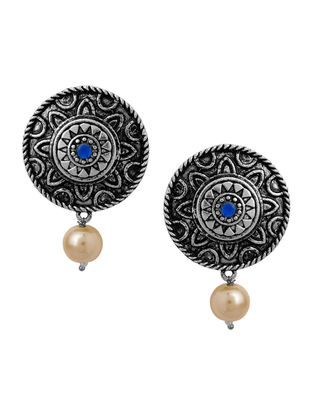 Blue Silver Tone Earrings with Pearl