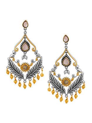 White Dual Tone Brass Earrings