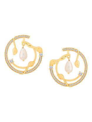 White Gold Tone Brass Earrings with Pearl