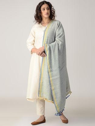 Grey-Yellow Wool Tussar Silk Shawl with Tassels