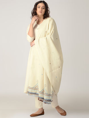 Ivory-Blue Hand-embroidered Wool Shawl with Tassels and Mirror Work