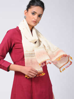 Ivory-Red Kala Cotton Stole with Tassels
