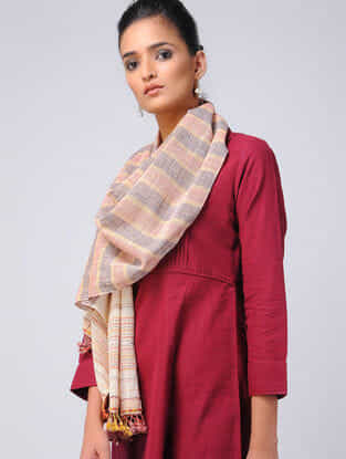 Pink-Ivory Kala Cotton Stole with Tassels