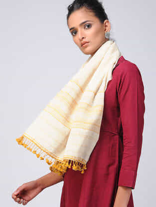 Ivory-Yellow Kala Cotton Stole with Tassels