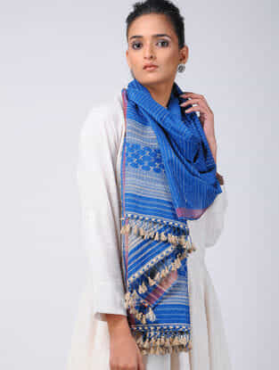 Blue-Ivory Cotton Silk Stole with Tassels