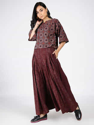 Maroon Natural-dyed Ajrakh-printed Cotton Top and Pants (Set of 2)