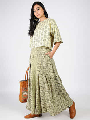 Green-Beige Natural-dyed Ajrakh-printed Cotton Top and Pants (Set of 2)