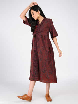 Maroon Natural-dyed Ajrakh-printed Cotton Wrap Dress