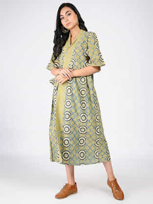 Green-Yellow Natural-dyed Ajrakh-printed Cotton Wrap Dress