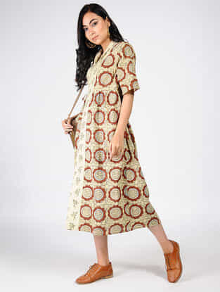 Beige-Red Natural-dyed Ajrakh-printed Cotton Wrap Dress
