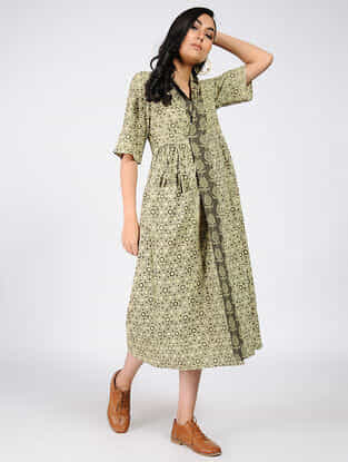 Beige-Grey Natural-dyed Ajrakh-printed Cotton Wrap Dress